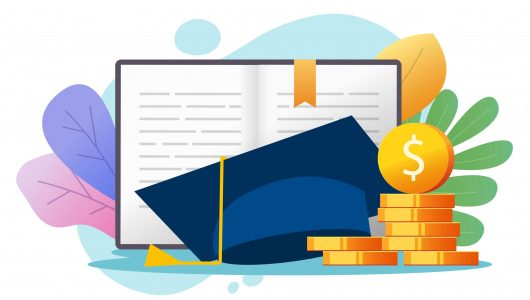 Education money loan credit concept or scholarship graduate cost, college tuition financial fee vector, study or learning knowledge investment cash, academic degree flat cartoon illustration colorful